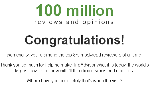 Trip Advisor's Top 8 % Thank You!