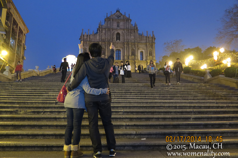 St Ruins of St Paul at night, Macau, China