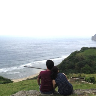 Me and Hon looking at God's beautiful creation at Tayid Lighthouse, Batanes Philippines