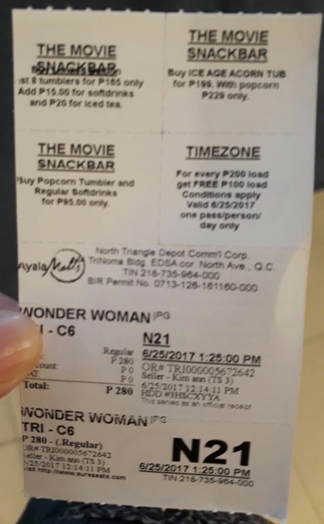 The proof of my accomplishment - Wonder Woman Cinema Ticket
